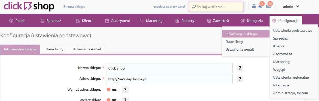 Sklep internetowy - Konfiguracja - Ustawienia podstawowe - Przejdź do opcji menu Informacje o sklepie