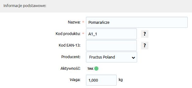 Sklep internetowy - Asortyment - Produkty - Każdy produkt dodany do sklepu, opisany jest następującymi parametrami