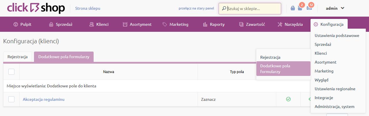 Sklep internetowy - Konfiguracja - Klienci - Wybierz opcje menu Dodatkowe pola formularzy