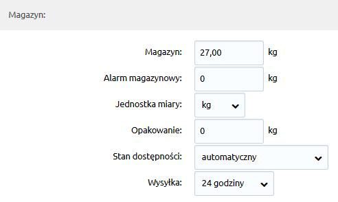 Sklep internetowy - Asortyment - Produkty - Magazyn - Uzupełnij dane