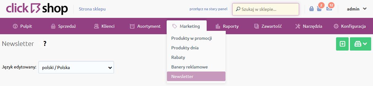 Sklep internetowy - Marketing - Wybierz opcje Newsletter