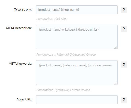 Sklep internetowy - Asortyment - Produkty - Pozycjonowanie - Uzupełnij dane