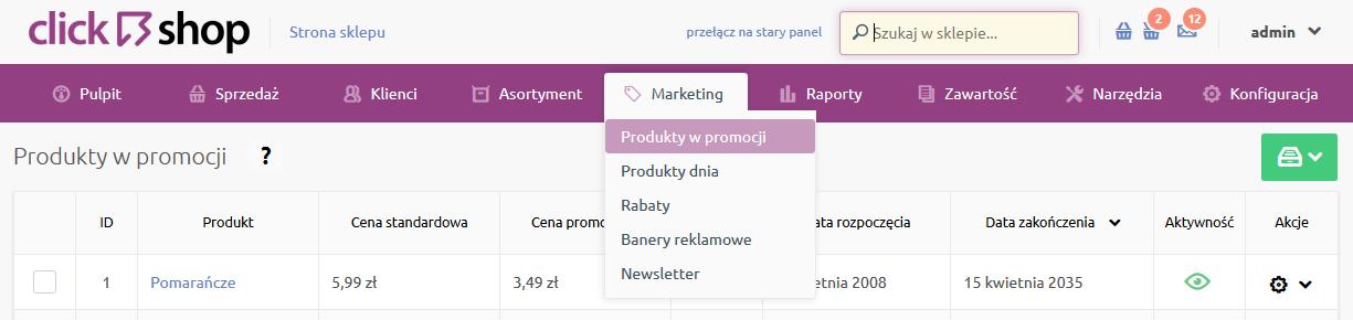 Sklep internetowy - Marketing - Wybierz opcje z menu Produkty w promocji