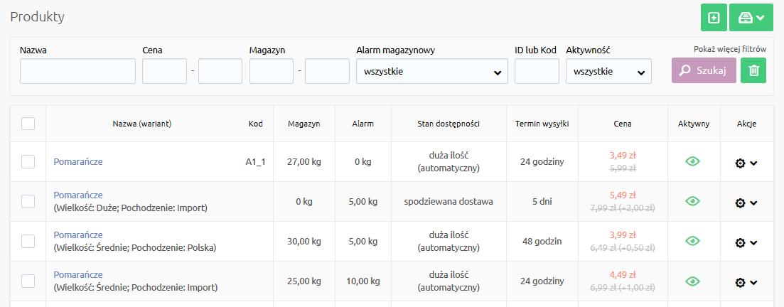 Sklep internetowy - Asortyment - Produkty - Wyświetlona lista produktów