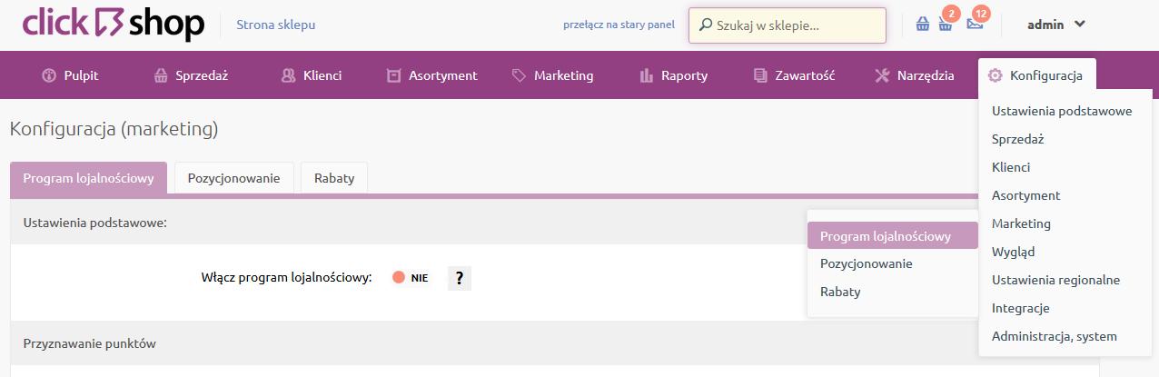 Sklep internetowy - Konfiguracja - Marketing - Wybierz opcje menu Program lojalnościowy