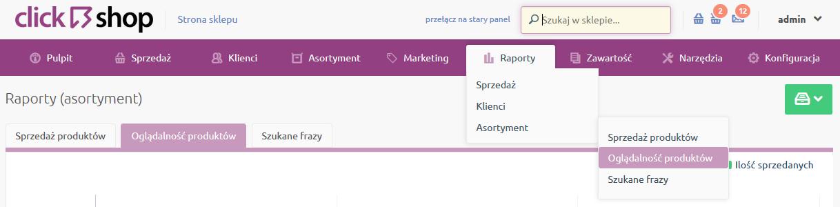 Sklep internetowy - Raporty - Asortyment - Wybierz opcje Oglądalność produktów