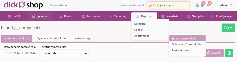 Sklep internetowy - Raporty - Asortyment- Wybierz opcje menu Sprzedaż produktów