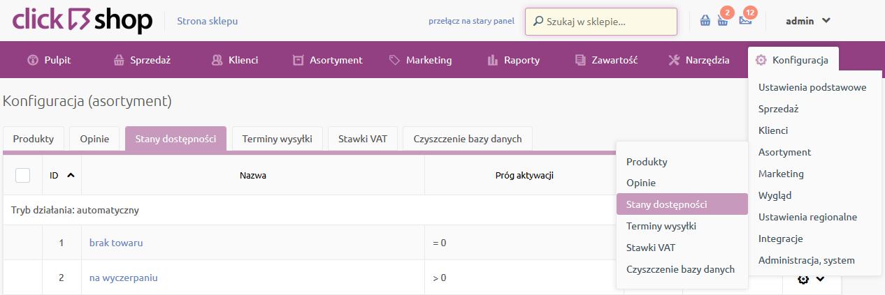 Sklep internetowy - Konfiguracja - Asortyment - Wybierz opcje menu Stany dostępności