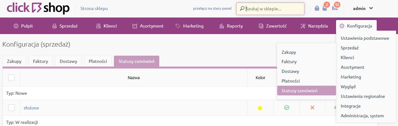 Sklep internetowy - Konfiguracja - Sprzedaż - Wybierz opcje menu Statusy zamówień
