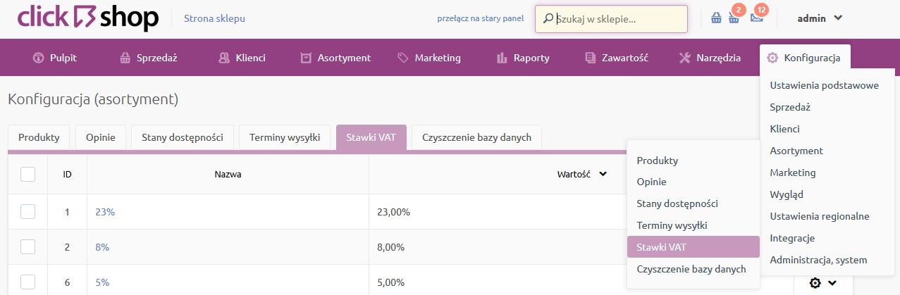 Sklep internetowy - Konfiguracja - Asortyment - Wybierz opcje menu Stawki VAT
