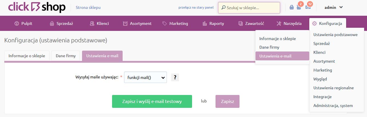 Sklep internetowy - Konfiguracja - Ustawienia podstawowe - Wybierz opcje menu Ustawienia e-mail