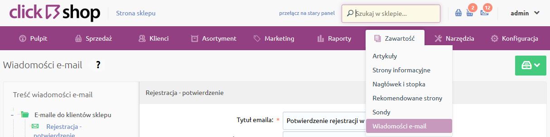 Sklep internetowy - Zawartość - Wybierz opcje menu Wiadomości e-mail