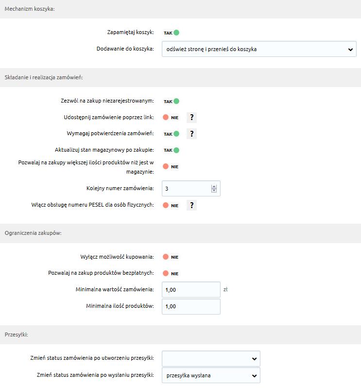 Sklep internetowy - Konfiguracja - Sprzedaż - Zakupy - Skonfiguruj ustawienia zakupów dokonywanych w sklepie internetowym