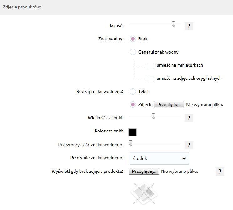 Sklep internetowy - Konfiguracja - Asortyment - Produkty - Skonfiguruj zdjęcia produktów według własnych potrzeb