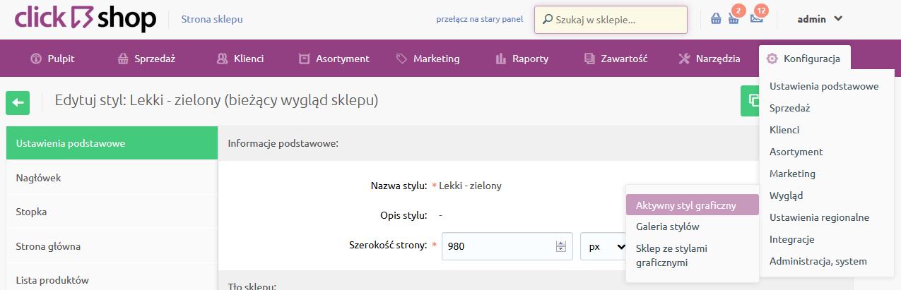 eSklep - Konfiguracja - Wygląd - Wybierz opcję Aktywny styl graficzny