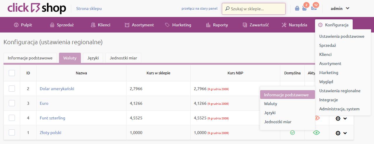 Sklep internetowy - Konfiguracja - Ustawienia regionalne - Wybierz opcje menu Informacje podstawowe