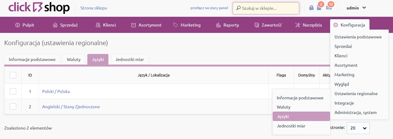 Sklep internetowy - Konfiguracja - Ustawienia regionalne - Wybierz opcje menu Języki