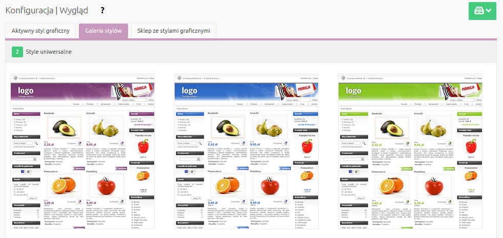 Sklep internetowy - Konfiguracja - Wygląd - Galeria stylów - Wybierz styl uniwersalny i kliknij aby go zduplikować