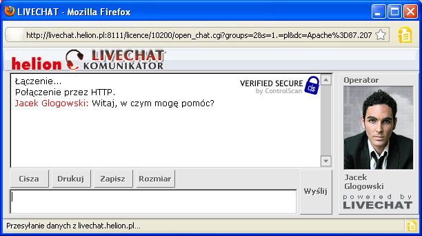 Przykładowy wygląd Livechat w sklepie Helion.pl