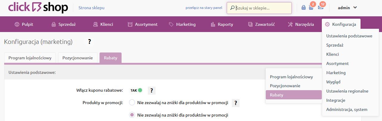 Sklep internetowy - Konfiguracja - Marketing - Wybierz opcje menu Rabaty