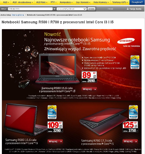 RTV EURO AGD - Przykładowy wygląd Promocji notebooków Samsung