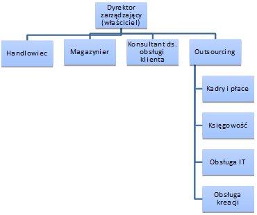 Przykładowa struktura zatrudnienia w małej firmie zajmującej się e-commerce