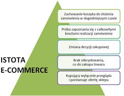 Sklep internetowy - Dlaczego klienci porzucają koszyk - Przyczyna Istota e-commerce - Diagram