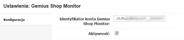 Gemius ShopMonitor - Ustawienia - Konfiguracja - Skopiuj identyfikator konta