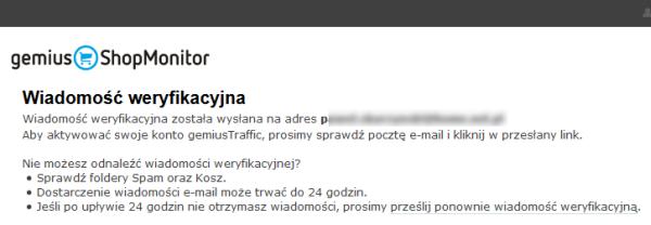 Gemius ShopMonitor - Wiadomość weryfikacyjna - Odbierz wiadomość e-mail