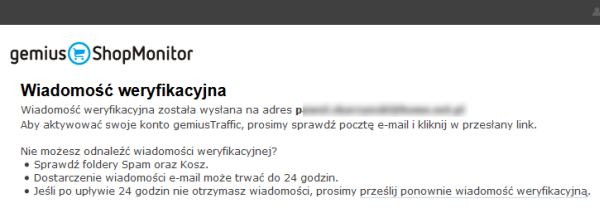 Gemius ShopMonitor - Wiadomość weryfikacyjna - Odbierz wiadomość e-mail i kliknij w link aktywacyjny