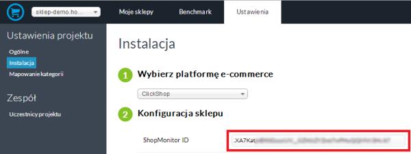 Gemius ShopMonitor - Ustawienia - Instalacja - Dodaj domenę sklepu do ShopMonitor ID