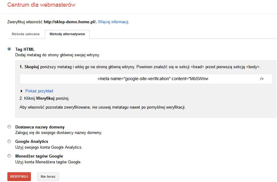 Google Merchant Center - Rejestracja - Weryfikacja witryny - Metody alternatywne - Wybierz metodę weryfikacji TAG HTML i skopiuj go