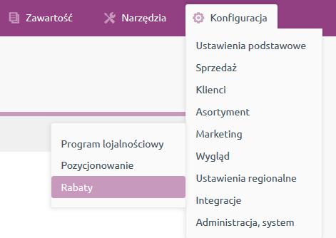 eSklep - Konfiguracja - Marketing - Wybierz opcję Rabaty
