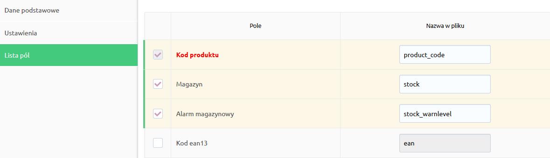 Sklep internetowy - Asortyment - Produkty - Importuj / Eksportuj - Profil CSV - Lista pól - Wybierz pola