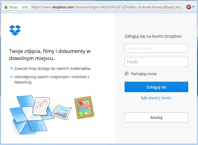Dropbox - Okno logowania - Zaloguj się