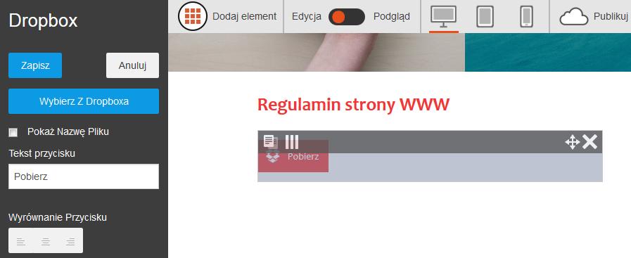 Click Web - Podstrony - Dodaj element - Dropbox - Pobierz - Skonfiguruj moduł