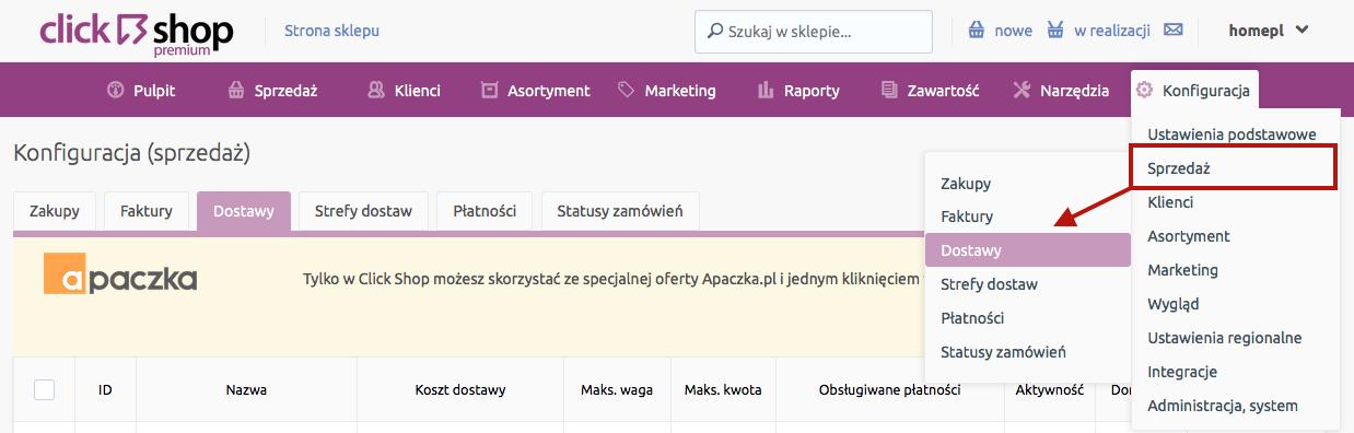 Sklep internetowy - Konfiguracja - Sprzedaż - Przejdź do opcji menu Dostawy