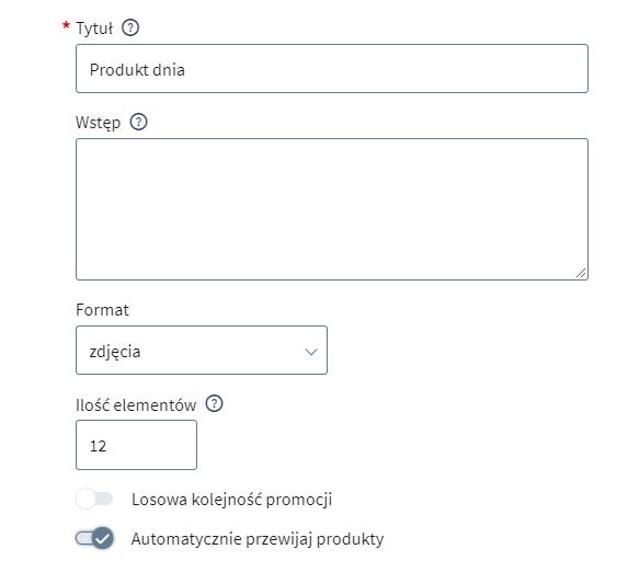 W ustawieniach modułu Produkt dnia możesz włączyć m.in. automatyczne przewijanie produktów