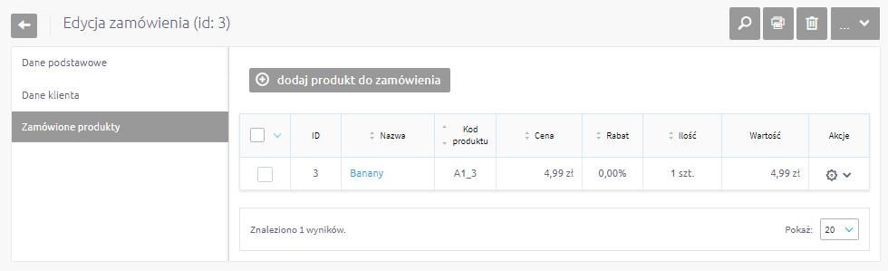 Dodawanie produktów  do zamówienia klienta