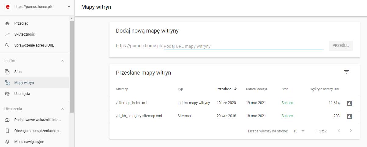 W narzędziach Google Search Console możesz łatwo dodać mapę witryny