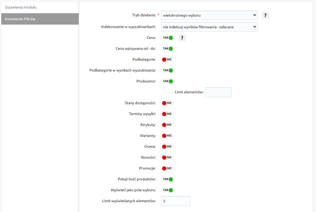 Zmiana parametrów wyszukiwania produktów