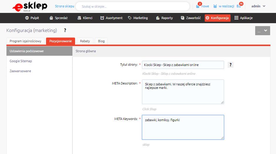 Pozycjonowanie sklepu internetowego home.pl