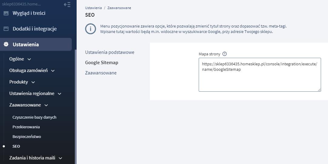 Odszukaj w ustawieniach SEO sklepu internetowego link do mapy strony aby użyć go w narzędziach Google