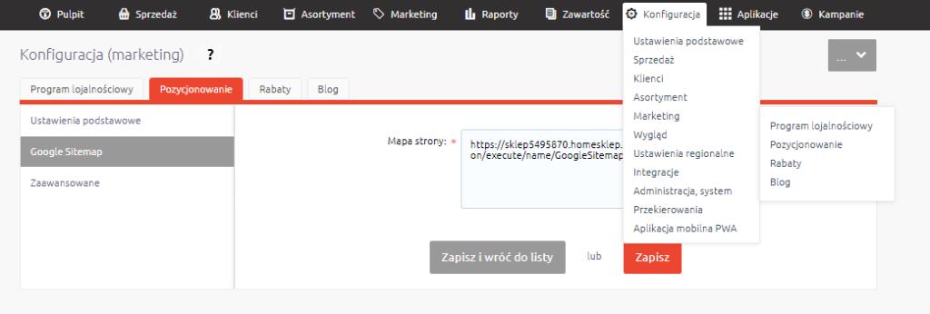 Zgłaszanie mapy sklepu / sitemap do Google
