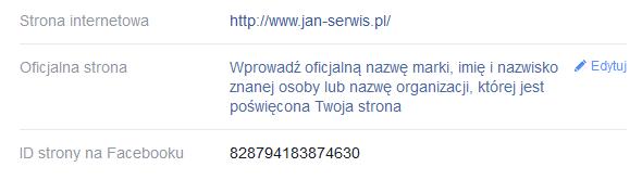 Facebook - Profil - Informacje - Na samym końcu zebranych informacji, odnajdź pole ID strony na Facebooku