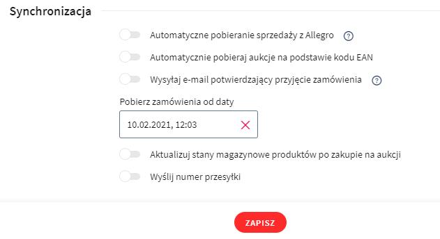 Wprowadź dodatkowe ustawienia dot. synchronizacji danych z Allegro