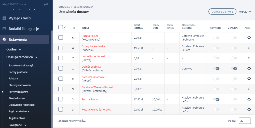 Panel eSklep: Formy dostawy