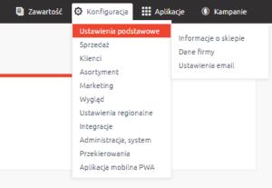 Ustawienia podstawowe, konfiguracja e-mail