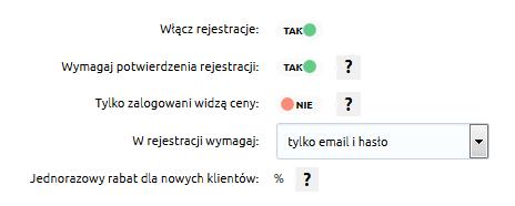 Sklep internetowy - Konfiguracja - Klienci - Rejestracja - Wymuś na użytkownikach konieczność zarejestrowania się w sklepie
