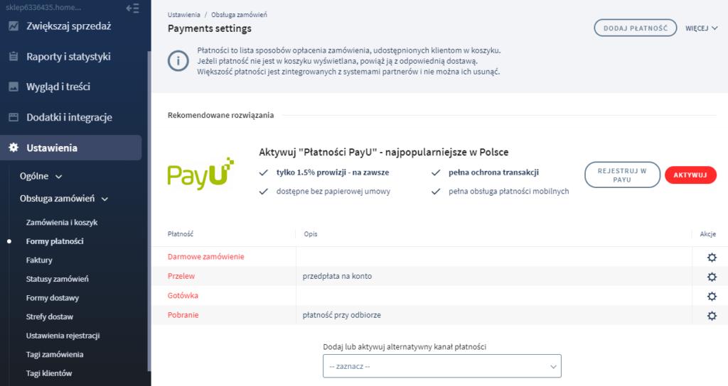 Panel eSklep:  Formy Płatności